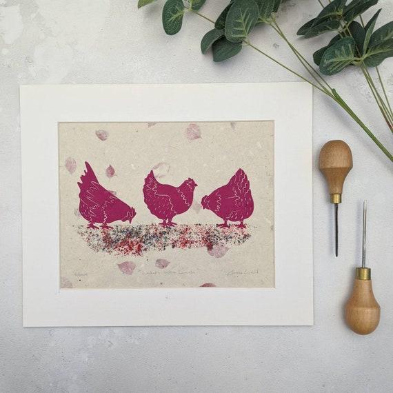 Quirky Chicken Linocut Print, Farmhouse Chicken Wall Art, Kitchen Decor, Chicken Lovers Gift