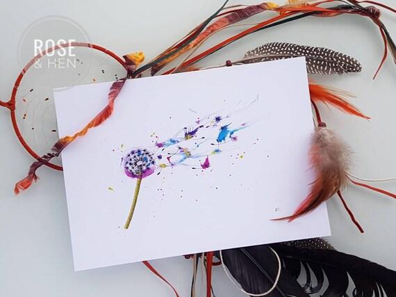 Rainbow Dandelion Print - Nursery Wall Art - Dandelion Clock Illustration - Dandelion Gift - Nature Lover Gift - Wild Flowers