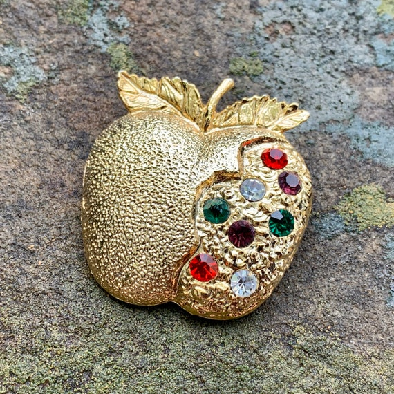 Gold Rhinestone Apple Brooch, Apple of Gold Rhines