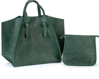 Woman Bag - Big Women Bag - Green Leather Bag - Vintage Woman Bag - Green  Leather - Everyday Bag - Large Shoulder Bag - Large Leather Bag