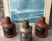 Vintage Nautical Port, Starboard and Stern Lanterns Perko Ship Lanterns Boat Lantern Set