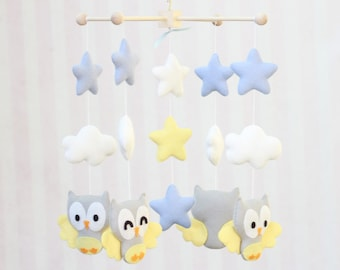 Baby Mobile Owls Mobile Star Mobile Nursery Decor Owls and Clouds Baby Mobile