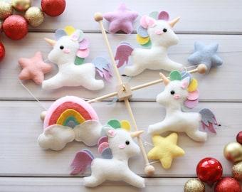 Unicorn Mobile Baby Mobile Rainbows Mobile Star Decor