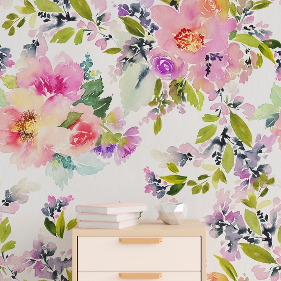 Watercolor Floral Wallpaper Removable Wall Decor Temporary Wallpaper Peel And Stick Wallpaper Wall Paper Removable A130