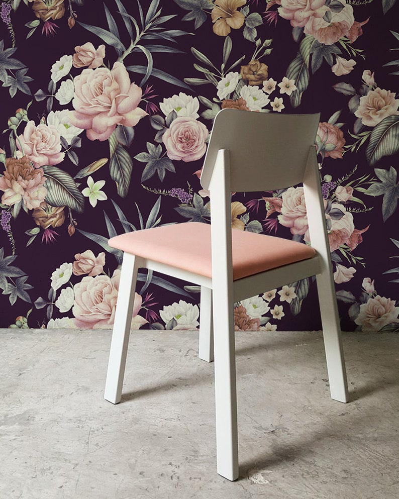 Dark Floral Peel And Stick Wallpaper Adhesive Wallpaper Floral Etsy
