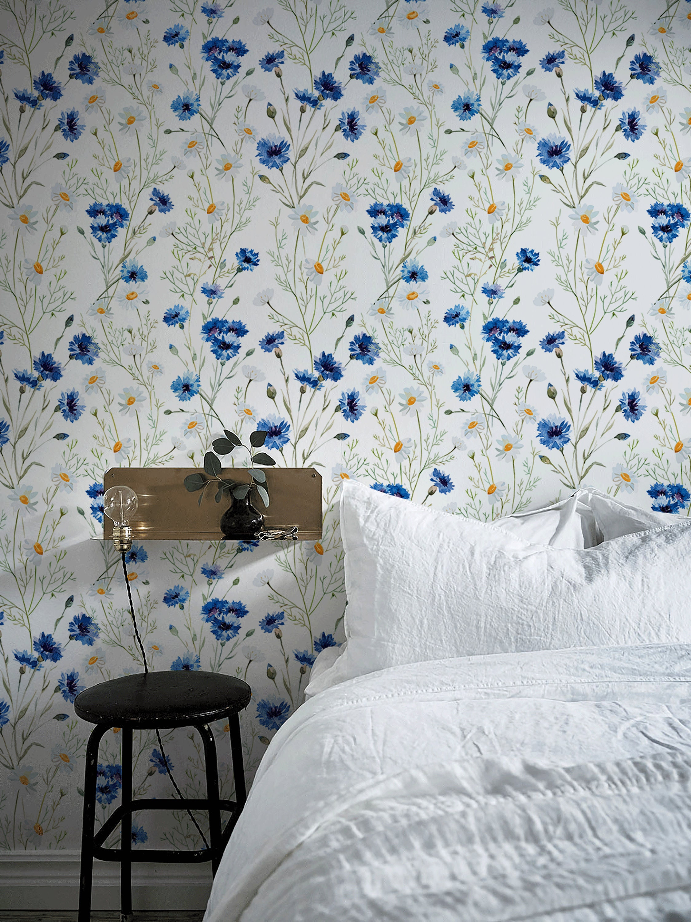 Blue Vintage Wallpaper Wall Mural Blue Flowers Floral Wall ...