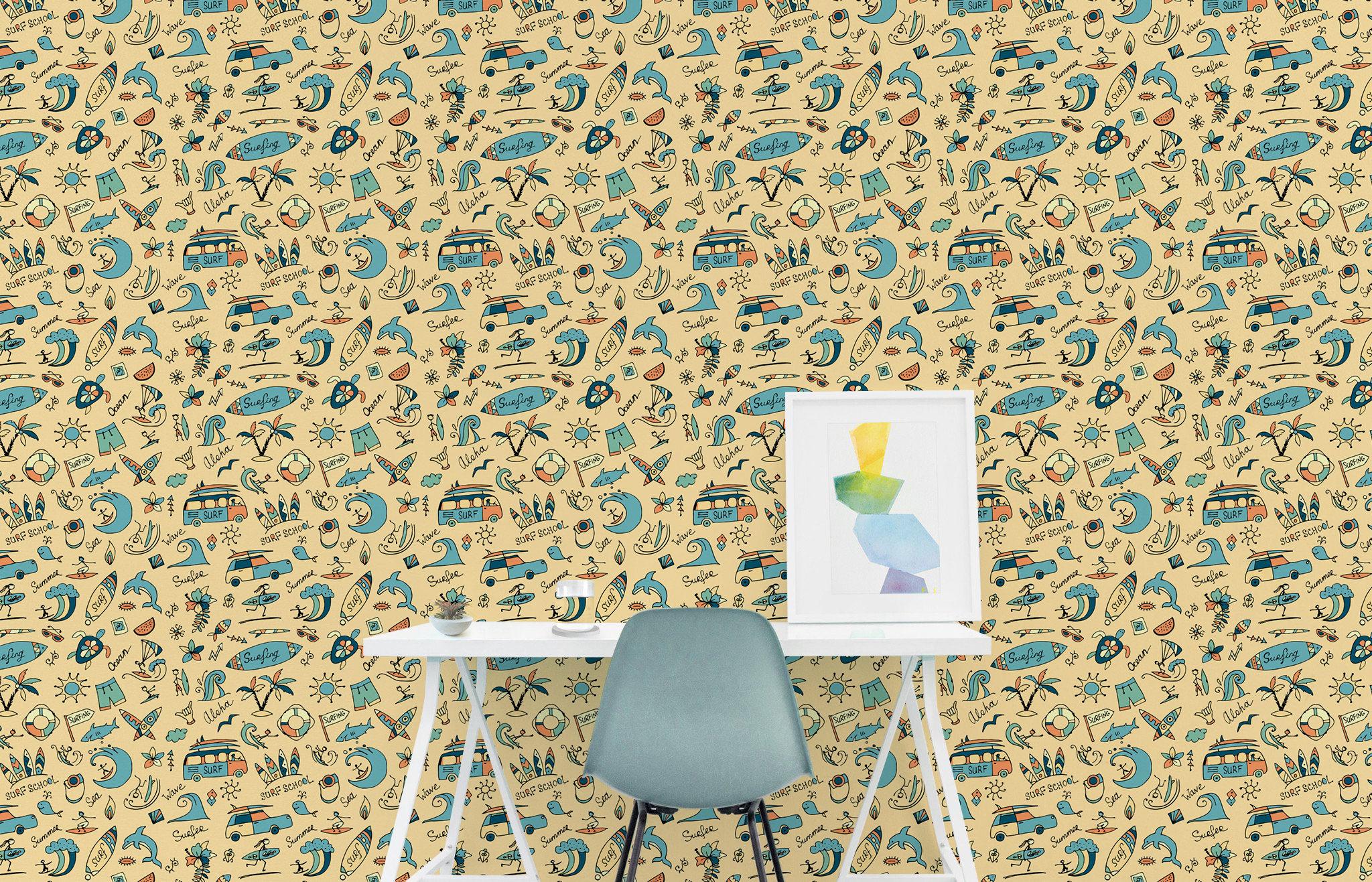 Surfer Wallpaper Nursery Wallpaper Peel and Stick Wallpaper | Etsy