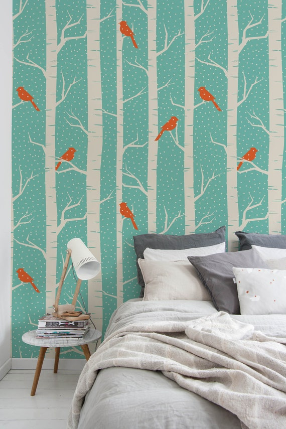 Peel and stick wallpaper birch tree peel and stick birds - Birch tree wallpaper peel and stick ...