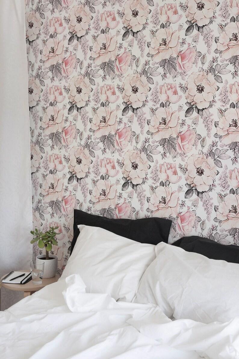 Vintage Floral Wallpaper Removable Wall Mural Vintage Etsy