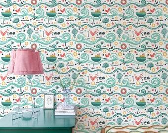 Waves Removable Wallpaper, Nursery Wallpaper, Kids Wallpaper, Nautical Wallpaper, Self Adhesive Wallpaper, Waves, Wallpaper - A084