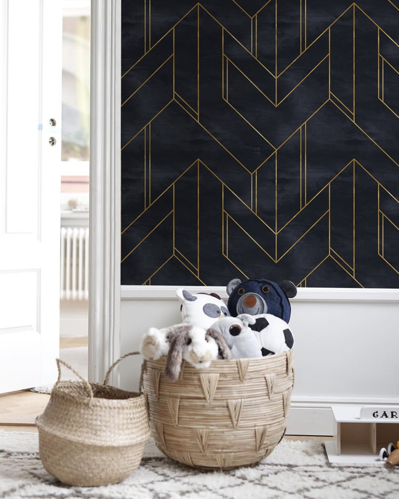 Gold And Navy Blue Geometric Wallpaper Wall Mural Minimalistic Etsy