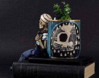 Blue Hand-Carved Skull Ceramic Planters