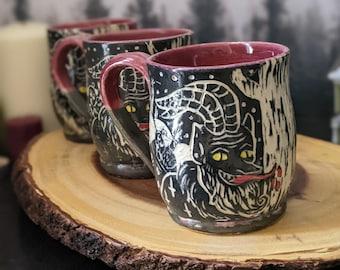 Handmade Krampus Mug Black, Red  and Green Christmas theme