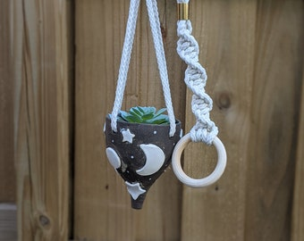 Handmade Ceramic Dark Brown Moon and Star Hanging Planter with Macramé Cord
