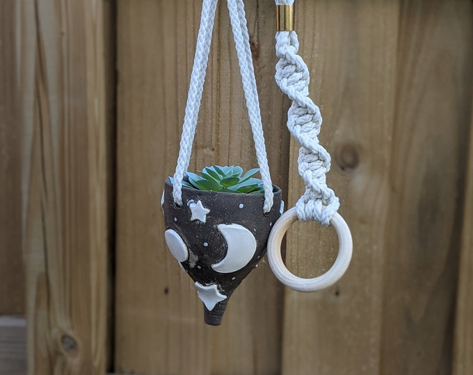 Featured listing image: Handmade Ceramic Dark Brown Moon and Star Hanging Planter with Macramé Cord