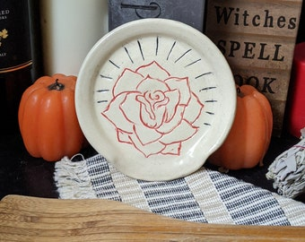 Hand Carved Rose Spoon Rest