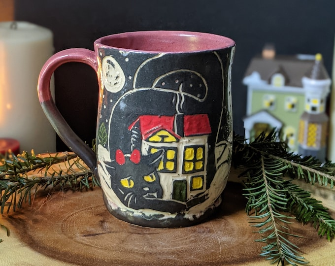 Featured listing image: Handmade Ceramic Yule Cat Christmas Mug in Black, green and red