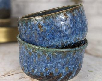 Handmade Blue Ceramic Mermaid or Fish Scale Bowls