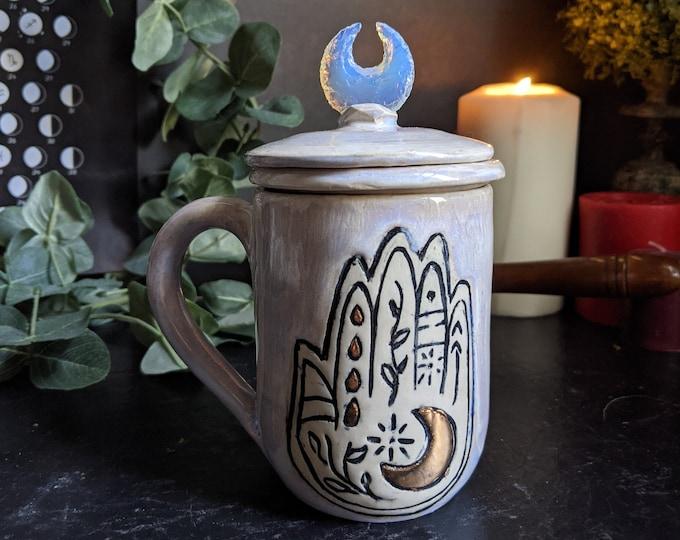 Featured listing image: Handmade Tea Infuser Moon Mug | 22 K Gold | Opalite Moon Pedant Lid