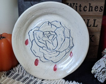 Sgraffito Bleeding Rose White Ceramic Spoon rest