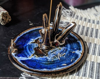 Handmade Dark Brown and Blue Crystal Tiger's Eye Incense or Ring Holder
