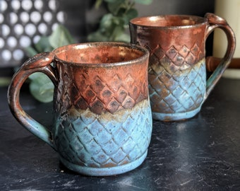 Two Toned Ancient Copper and Turquoise Mermaid | Dragon Scale Mug | Thumb Rest | Handmade Mug