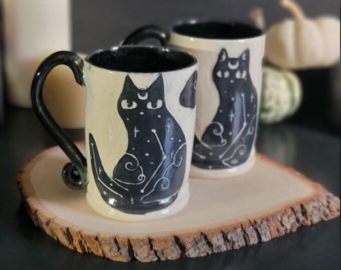 Featured listing image: Galaxy Zodiac Cat Ceramic Mug | Sparkling Black Interior & Handle