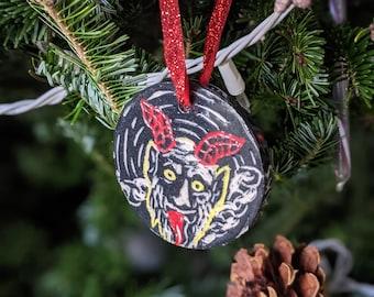 "Hand Carved Ceramic Krampus ""Grub Vom Krampus"" Yule/Christmas Ornament"