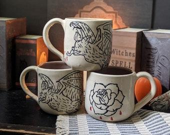 Vampire Bat Rose Sgraffito Ceramic Mug