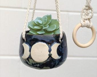 Hanging Ceramic Double Sided Moon, Triple Moon Goddess Planter