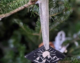 Hand carved Mountain and Triple Moon Ceramic Ornament in Black and White