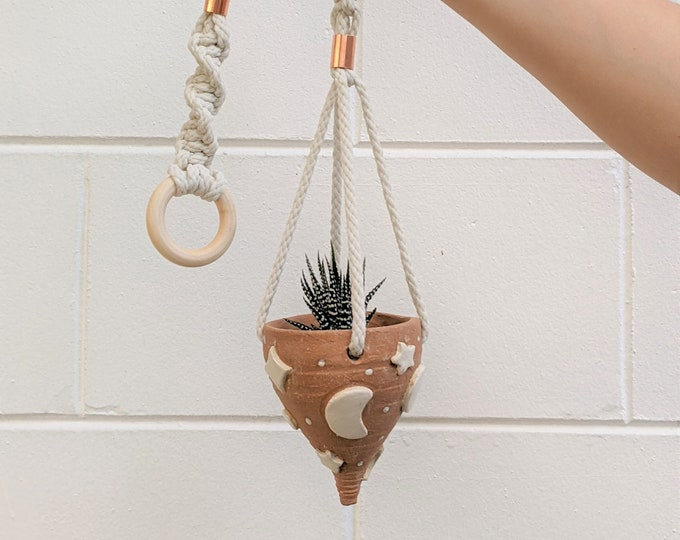 Featured listing image: Handmade Ceramic Light Tan Moon and Star Hanging Planter with Macramé