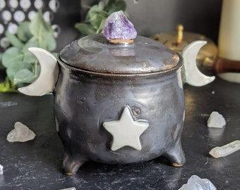 Handmade Ceramic Black Moon Cauldron Jar with Raw Amethyst Handle | Wiccan Moon Jar