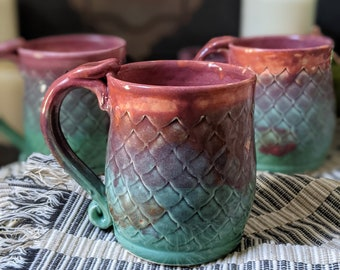 Two Tone Teal to Red Mermaid Or Dragon Scale Mug with Thumb Rest