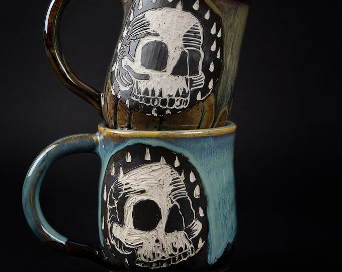 Featured listing image: Toxic Blue Skull Mug and/or Copper Brown Skull Mugs
