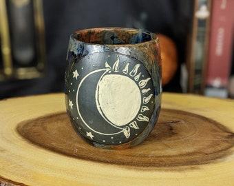 Sun and Moon Ceramic Wine Tumbler Copper and Dark Blue