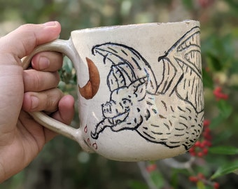 Handmade Ceramic Bat and Rose Mug made with 22 K Gold