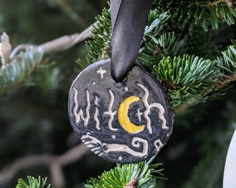 Hand Carved Ceramic Witch Ornament Yule/Christmas