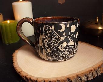 Death Moth Mug Copper Golden Brown Sgraffito Ceramic Mug