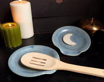 Handmade Blue Ceramic Spoon Rest with Crescent Moon