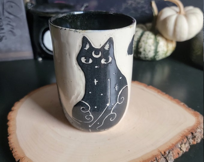 Featured listing image: Galaxy Zodiac Cat Ceramic Cup/Tumbler with Sparkling Black Interior