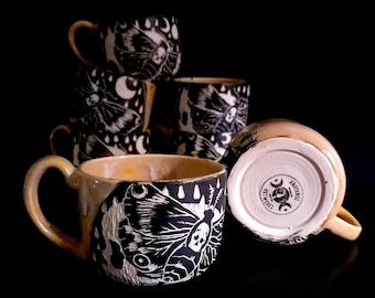 Handmade Death Moth Mug   Faint Hearted Yellow   Sgraffito Mug