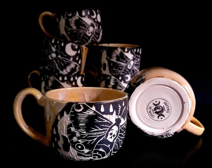 Featured listing image: Handmade Death Moth Mug | Faint Hearted Yellow | Sgraffito Mug