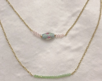 Spring Beaded   Gold Chain   Layered Necklace