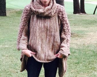 Hand knitted poncho, oversized Sweater wool cardigan,Turtle neck sweater, handwoven merino wool oversized crochet outwear boho Street style