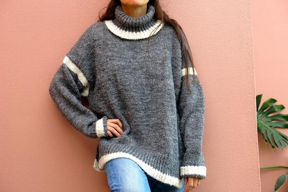 89520e63f5 OVERSIZED hand knit women sweater Turtle neck gray wool
