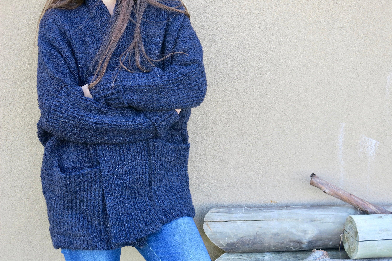 4714f771e Navy blue oversized winter cardigan Women s wool knit