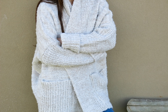 86d09c79117 Off white wool cardigan Wrapping sweater Oversized boucle
