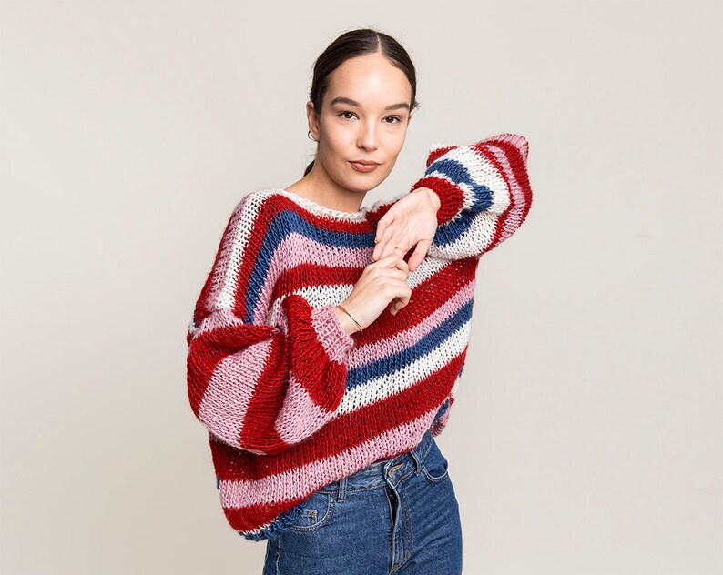 Cropped sweater Oversized sweater Chunky knit sweater for women Oversized sweatshirt Rainbow sweater Striped multicolor sweater