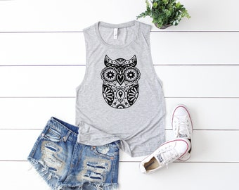 Mandala Owl | Muscle Tank, Yoga Shirt, Gym Shirt, Gym Tank, Yoga Top,Gym Top, Graphic Tee, Fitness Tank, Yoga Vest, T Shirt, T-Shirt